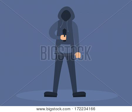 A man holding a gun. The killer or robber. Vector illustration