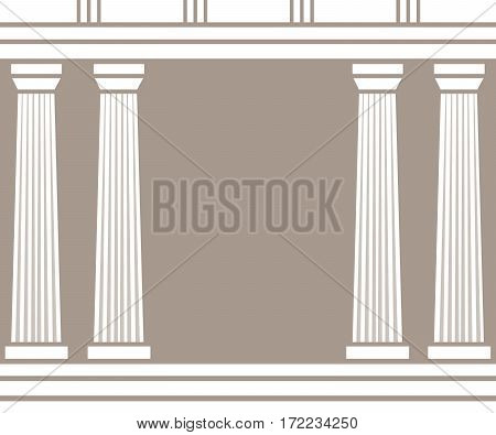 Double classic pillars isolated on brown background. Vector illustration flat architecture design. Building ancient monument background. Column pillar parthenon landmark. Famous architecture