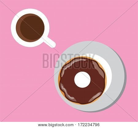 vector illuatration of coffee cup with chocolate donut top view coffee break breakfast meal fast food snack on plate flat simple cartoon design isolated on pink background