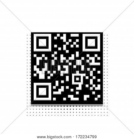 Vector modern halftone qr code icon on white background