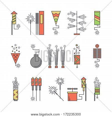 Colorful vector pyrotechnic icons. Firework explosion elements. Line petard salute illustration. Firecracker set. Entertainment decorating. Cartoon surprise flat pictogram. Show spark symbols
