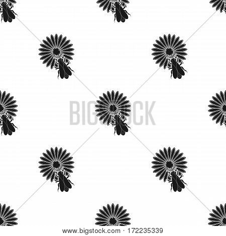 Bee on the flower icon in black style isolated on white background. Apiary pattern vector illustration