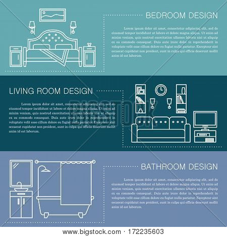 Modern brochure flyer design template with line interior icons. Bedroom, living room, bathroom vector illustrations. Business magazine, poster, banner, website