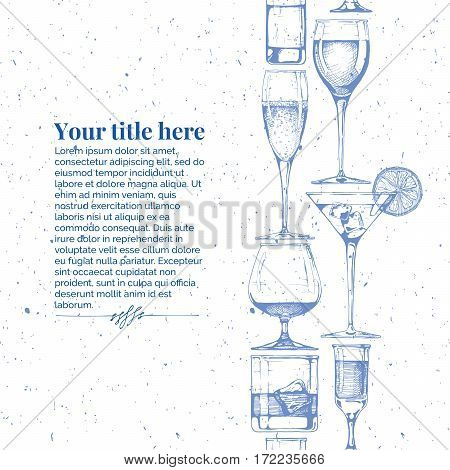 Vector vintage engraving template with glasses goblets and wineglasses seamless pattern stripe. Place for your text.