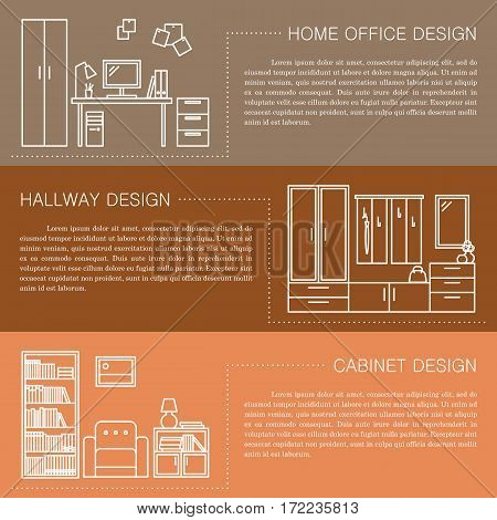Modern brochure flyer design template with line interior icons. Home office, hallway, cabinet vector illustrations. Business magazine, poster, banner, website