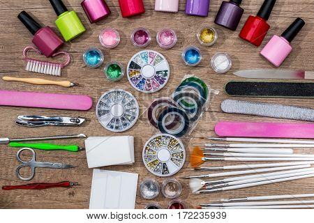 set decoration for nail design on desk.