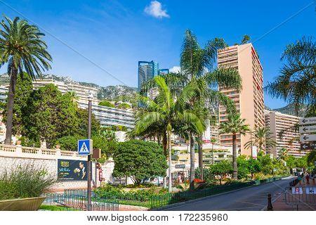 Monaco, Monte Carlo - September 17, 2016:  Princesse Grace avenue view with apartments buildings