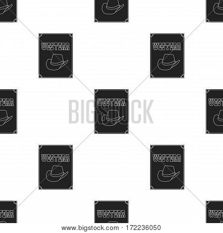 Western movie icon in black style isolated on white background. Films and cinema pattern vector illustration.