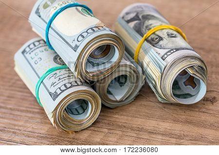American Dollars In Rolls. Saving Money Concept.