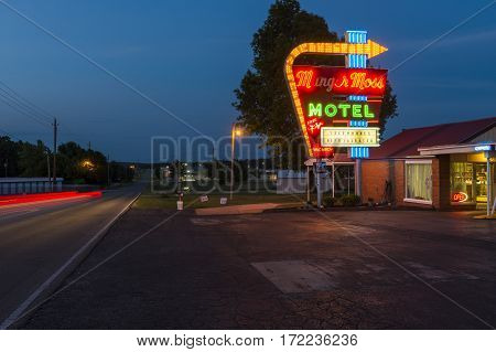 Lebanon Missouri USA - July 7 2014: View of the Munger Moss Motel at night along the Route 66 in Lebanon Missouri USA