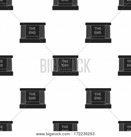 Movie screen icon in black style isolated on white background. Films and cinema pattern vector illustration.