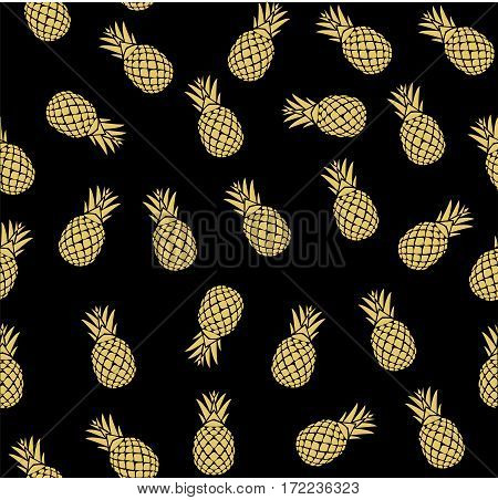 vector illustration of seamless golden pineapple background