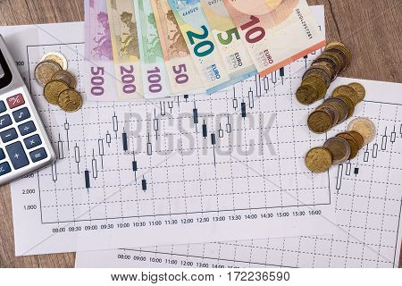 Forex market black candlesticks with euro bills and calculator.