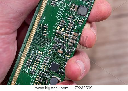 Electronic green computer hardware technology. PC background. close up.