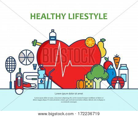 Healthy lifestyle concept with food and sport icons. Natural life vector background with heart shape. Phisycal activity banner for website or magazne. Header, poster, flyer backdrop. Cartoon design