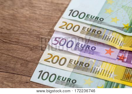 Many Different Banknotes Of Euro Currency. Close Up