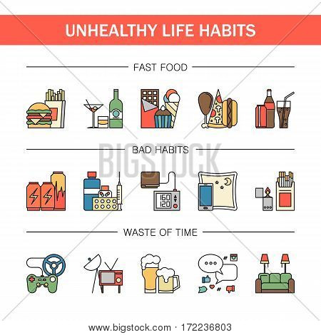 Unealthy lifestyle habits colorful line vector icons isolated. Fast junk food cola hanburger pizza. Bag habit smoking drugs energetic. Waste of time video games tv beer social media