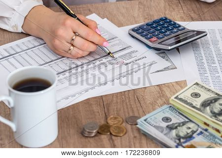 Business woman learn financial accounting. annual budget.