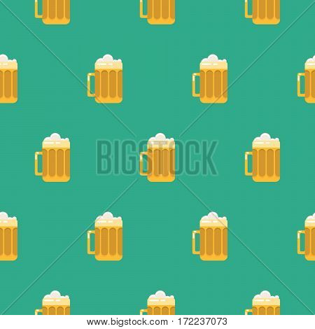 Beer glass seamless vector pattern. Pint of ale drink with foam on top green background.