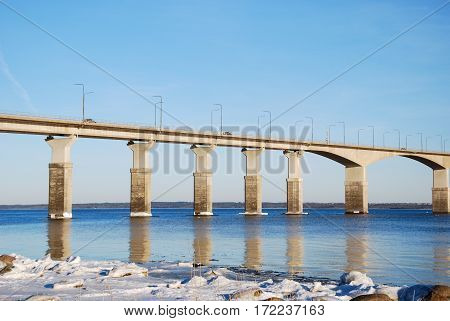 Part of the Swedish Oland bridge in the Baltic Sea one of the longest bridges in Europe. The bridge is connecting the island Oland with mainland Sweden