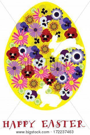 vector illustration of a floral Easter egg with bunnies