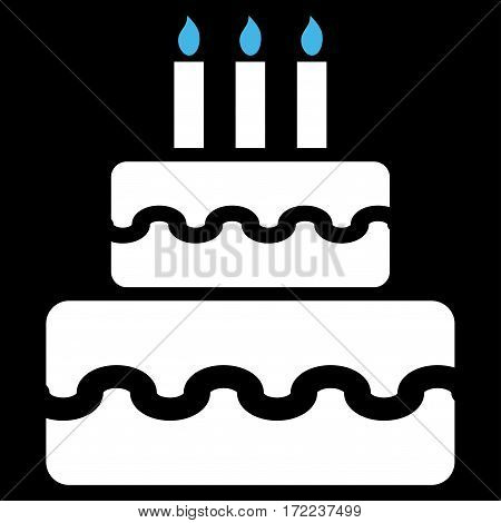 Birthday Cake flat icon. Vector bicolor blue and white symbol. Pictogram is isolated on a black background. Trendy flat style illustration for web site design logo ads apps user interface.