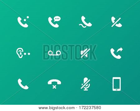 Call icons on green background. Vector illustration.