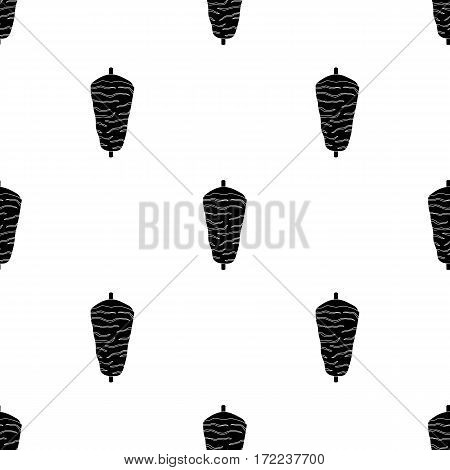 Doner kebab icon in black style isolated on white background. Meats pattern vector illustration