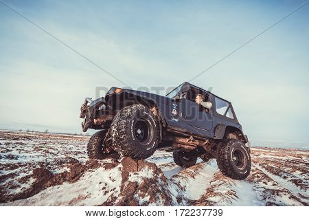 Leningrad region, Russia - February 18, 2017 Jeep Wrangler tj offroad Wrangler is a compact SUV produced by Chrysler