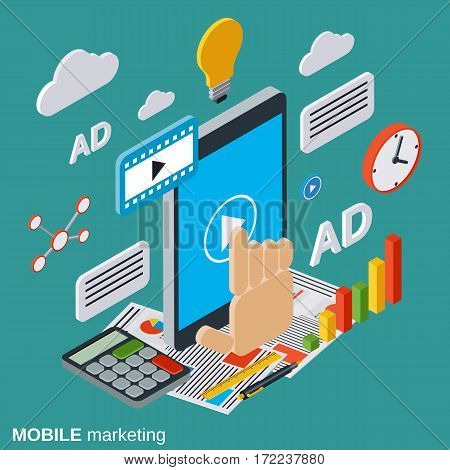 Mobile marketing, advertising, promotion flat isometric vector concept