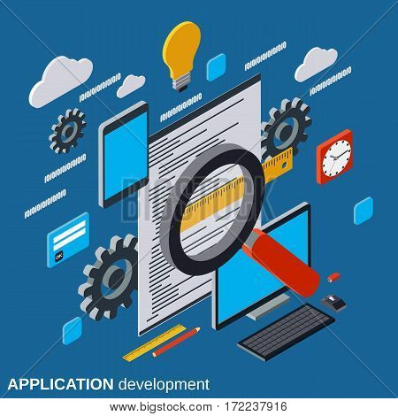 Application development, program coding, software testing flat isometric vector concept