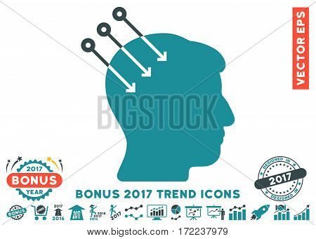 Soft Blue Neural Interface Connectors icon with bonus 2017 year trend pictures. Vector illustration style is flat iconic bicolor symbols white background.
