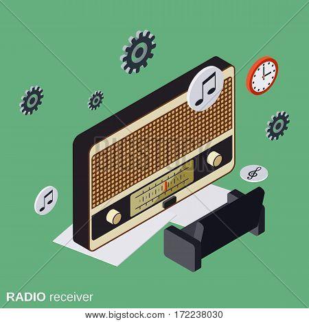 Radio receiver, broadcasting flat isometric vector concept