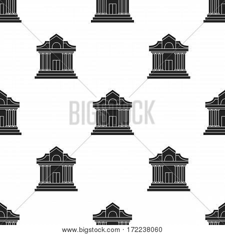 Museum building icon in black style isolated on white background. Museum pattern vector illustration.