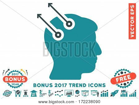 Soft Blue Neural Interface Plugs pictogram with bonus 2017 year trend images. Vector illustration style is flat iconic bicolor symbols white background.