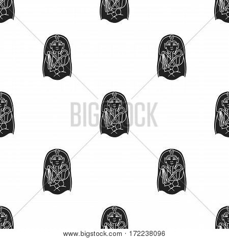 Egyptian pharaoh sarcophagus icon in black style isolated on white background. Museum pattern vector illustration.