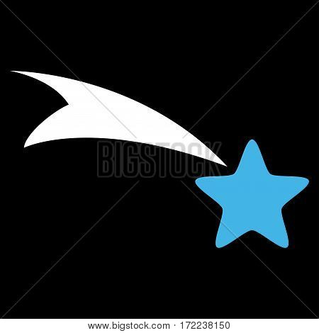 Falling Star flat icon. Vector bicolor blue and white symbol. Pictogram is isolated on a black background. Trendy flat style illustration for web site design logo ads apps user interface.