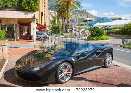 Monaco, Monte Carlo - September 17, 2016:  Supercar Ferrari at the city street.