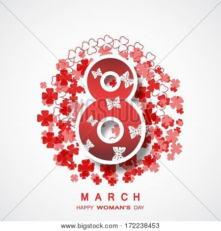 Vector poster for 8 of March Woman's Day on the gradient gray background with floral abstract pattern butterflies and text.