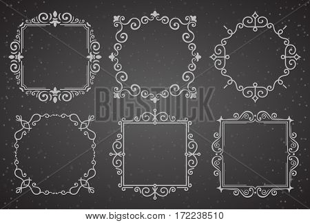 Set of Victorian Vintage Decoration Frames. Flourishes Calligraphic Ornament Frames. Retro Style Frame Collection for Invitations, Posters, Placards, Logos.