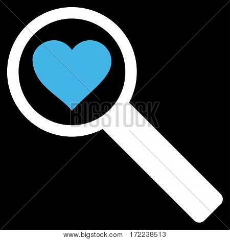 Find Love flat icon. Vector bicolor blue and white symbol. Pictogram is isolated on a black background. Trendy flat style illustration for web site design logo ads apps user interface.