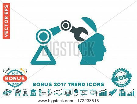 Soft Blue Open Head Surgery Manipulator pictograph with bonus 2017 trend pictograph collection. Vector illustration style is flat iconic bicolor symbols white background.