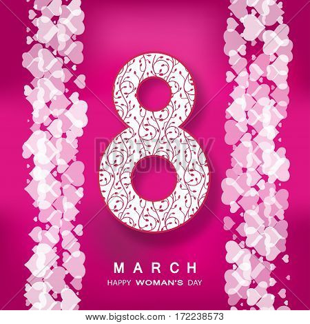 Vector 8 of March Woman's Day on the dark pink background with number heart pattern text and shadow.