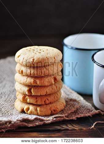 Delicious healthy homemade cookies of peanut butter with a cup of milk. Healthy food.