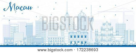 Outline Macau Skyline with Blue Buildings. Business Travel and Tourism Concept with Modern Architecture. Image for Presentation Banner Placard and Web Site.