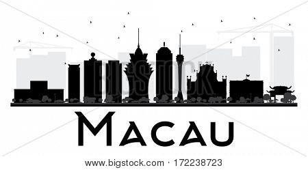 Macau City skyline black and white silhouette. Simple flat concept for tourism presentation, banner, placard or web site. Cityscape with landmarks