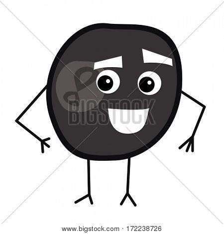 Cute Billiard Ball Cartoon Character.
