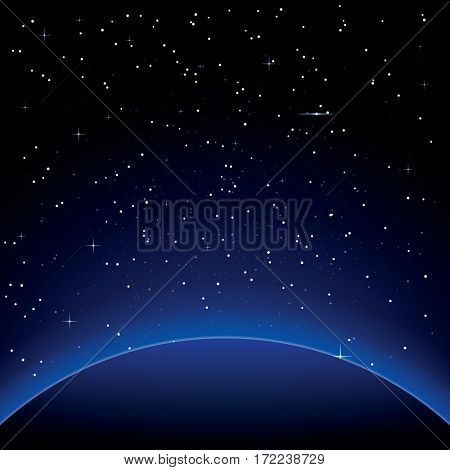 Earth with Stars. Space.