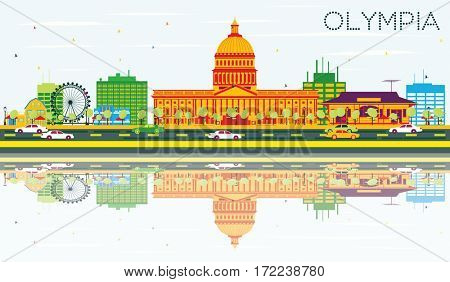 Olympia Skyline with Color Buildings, Blue Sky and Reflections. Business Travel and Tourism Concept. Image for Presentation Banner Placard and Web Site.