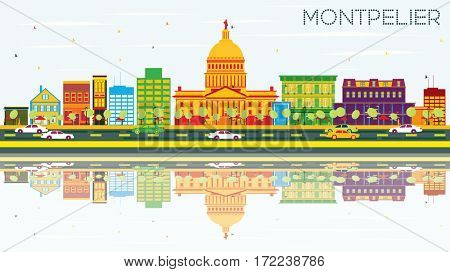 Montpelier Skyline with Color Buildings, Blue Sky and Reflections. Business Travel and Tourism Concept. Image for Presentation Banner Placard and Web Site.